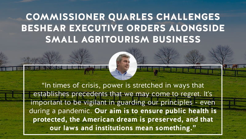 Quarles challenges Beshear executive orders alongside small agritourism business