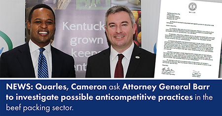 Commissioner Quarles, Attorney General Cameron Author Joint Letter Asking Department of Justice to Investigate Alleged Price Fixing in the Cattle Industry