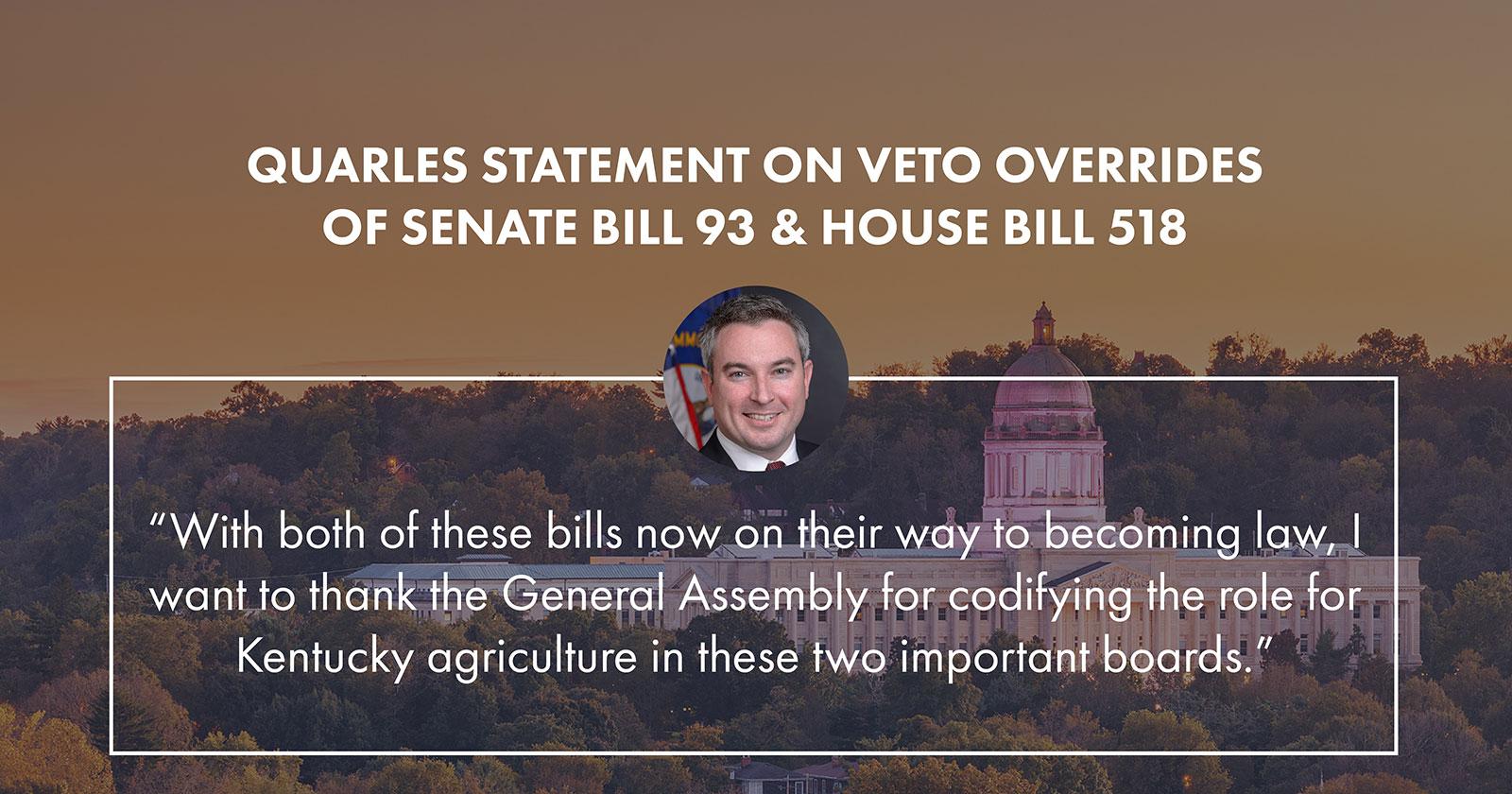 Quarles' statement on veto overrides
